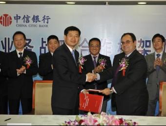 Signatura d'un acord entre el BBVA i el banc xinès xina CITIC per promoure els plans de pensions.  ARXIU
