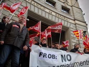 Una de les darreres manifestacions de treballadors del sector financer, a la plaça Catalunya de Barcelona.  ARXIU