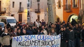 Treballadors de Noge , en concurs de creditors, en una protesta. M.LLADÓ