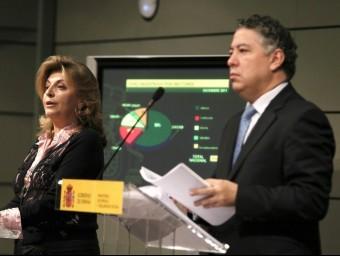 La secretària d'Ocupació, Engracia Hidalgo, i el secretari d'Estat de la Seguretat Social, Tomás Burgos, explicant la situació del sistema al desembre.  EFE