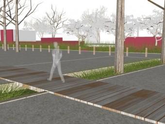 Imatge virtual del futur parc davant del pavelló de Vidreres. EL PUNT AVUI