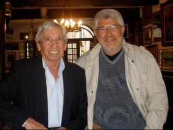 Jojo Pous amb l'escriptor i periodista Xavier Febrés als Templiers de Cotlliure ARXIU