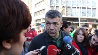 El diputat republicà Oriol Amorós, aquest diumenge a la manifestació contra l'atur que ha tingut lloc a Barcelona ACN