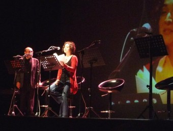 Marc Granell i Marc Granell i Sònia Moya durant la seua intervenció d'ahir. ESCORCOLL