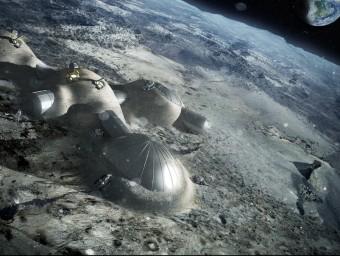 Simulació d'una base lunar feta amb impressores 3D.  ARXIU