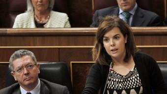La vicepresidenta del govern espanyol, Soraya Sáenz de Santamaría, a la sessió de control al Congrés EFE