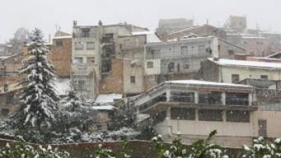 La nevada intensa a Horta de Sant Joan ha deixat més de 3 centímetres ACN