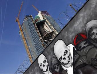 Vista de la nova seu central del Banc Central Europeu (BCE) a la ciutat de Frankfurt, actualment en fase d'obres.  ARXIU