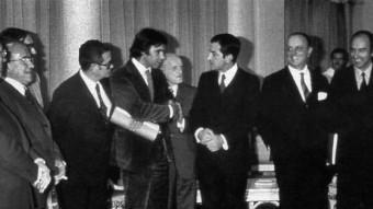 Joan Sardà va ser un dels negociadors discrets en els Pactes de la Moncloa el 1977.  ARXIU