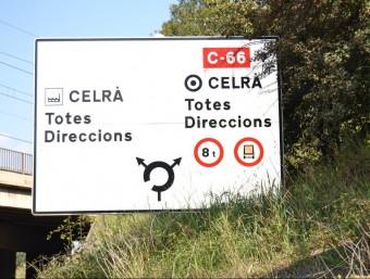 El RACC destaca que la travessera urbana de Celrà no disposa d'una senyalització d'orientació adequada RACC
