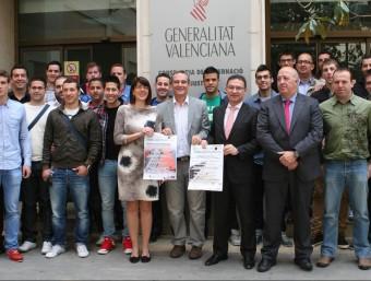 Moment de la presentació, en la Conselleria de Governació i Justícia, dels Masters Pilota Generalitat Valenciana en les modalitats de Raspall i Escala i Corda. EL PUNT AVUI