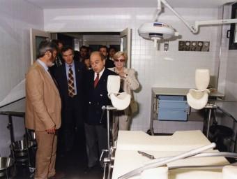 Pujol, Trias i Oms, en un moment de la inauguració, avui fa vint anys. FONS DE L'ARXIU MUNICIPAL DE BLANES (AMBL)