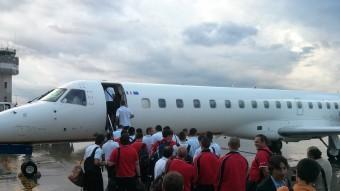 Imatge de l'avió que va portar el Girona a Almeria  XEVI MASACHS