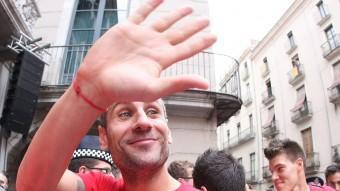 Jose Martínez (a la foto, en l'acte d'homenatge que l'afició va fer al Girona) ha tancat un cicle a Montilivi LLUÍS SERRAT
