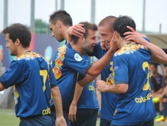 Catalunya celebra el gol de Domínguez, en el duel d'ahir contra el combinat rus a Bagnoli di Sopra ÁLVARO MONTOLIU