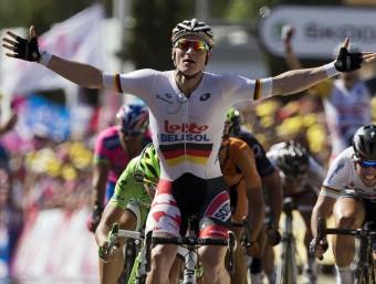 Greipel celebra la victòria de la sisena etapa a Montpeller AFP