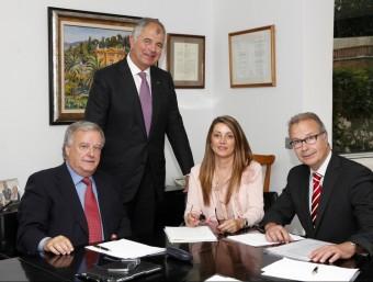 D'esquerra a dreta, Joan Mallafré, Josep Maria Bové, Mercè Martí i Jaume Carreras.