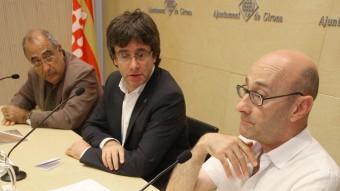 Nadal, Puigdemont i Sunyer, presentant la Fundació Ciutat Invisible. SERRAT