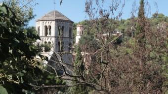 Una imatge del Passeig Arqueològic de Girona, amb Sant Pere del Galligans, on es veuen les acàcies mortes JOAN SABATER