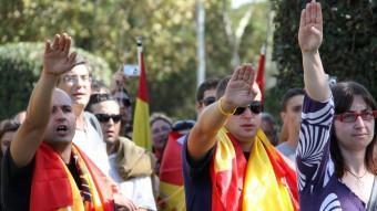 Concentració a Barcelona en motiu del dia de la hispanitat. ACN