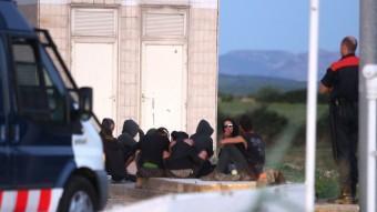 Un control dels Mossos diumenge, durant l'acampada de Fellines. J.CASTRO
