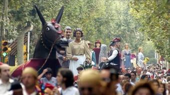 El cercavila de gegants, en una imatge d'una edició passada de la festa gran de Sabadell. ARXIU
