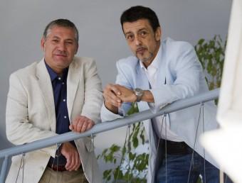 Carlos Borda i Jesús Rojo en les instal·lacions del centre de negocis BCIN de Badalona.  ALBERT SALAMÉ