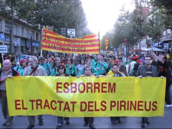 Pancarta habitual a les manifestacions catalanes a Perpinyà A.R