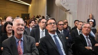 El president de la Generalitat, Artur Mas, al costat del rector de la Universitat de les Nacions Unides, David Malone, i de l'alcalde de Barcelona, Xavier Trias, a la inauguració aquest dimarts de l'Institut per a la Globalització, Cultura i Mobilitat ACN
