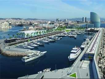 Imatge virtual de la marina a la dàrsena de la Bocana Nord del port de Barcelona, a tocar de l'hotel W