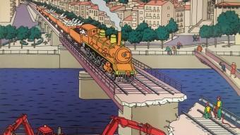 El dibuix, d'Angel del Pozo sobre el viaducte de Girona. EL PUNT