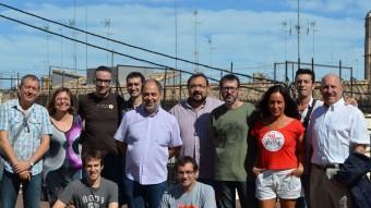 Representants dels sindicats, associacions i partits que han participat en l'acte. PRATS I CAMPS