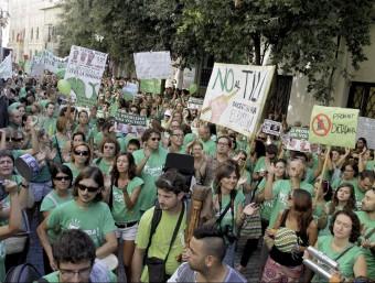 Una de les protestes que ha protagonitzat l'onada verda dels docents, a Palma EFE