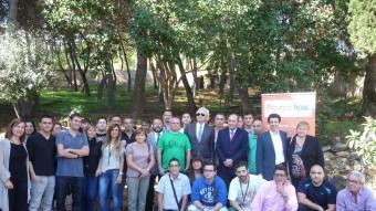"""Detall de la visita feta ahir a les instal·lacions de Projecte Home a Montgat per presentar el programa """"FutbolNet"""". T.M"""