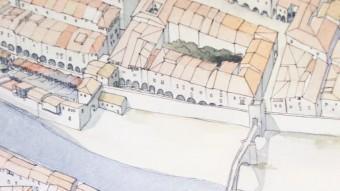 Un dibuix de l'antic convent medieval de Sant Francesc AJUNTAMENT GIRONA