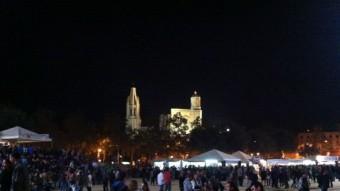 La imatge de la Girona patrimonial vista des de les barraques de la Copa D.V