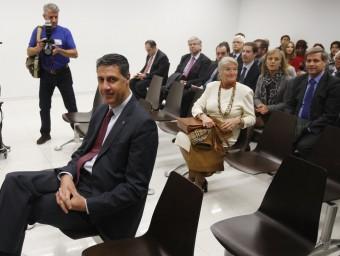 Xavier García Albiol , ahir a la banqueta dels acusats del jutjat penal 18 de Barcelona, darrera tenia líder del PP, com Alberto Fernández Díaz ORIOL DURAN