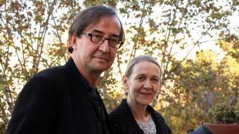 el director Guy Cassiers i l'actriu Katelijne Damen , ahir a la tarda a la terrassa delTeatre Lliure. PERE FRANCESCH/ACN