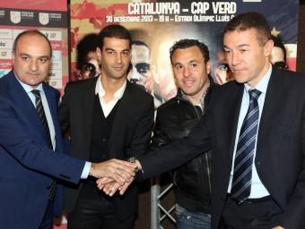 Andreu Subies i el cos tècnic de la selecció –Gerard López, Sergio González i Xavi Aguado– posen en l'acte de presentació d'ahir QUIM PUIG