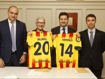 Muriel Casals i Xavier Vinyals, ahir al costat d'Andreu Subies i Ivan Tibau FCF