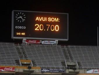 El marcador del Lluís Companys, ubicat en una zona de l'estadi que dilluns estava buida, en el moment en què anunciava el nombre d'espectadors QUIM PUIG