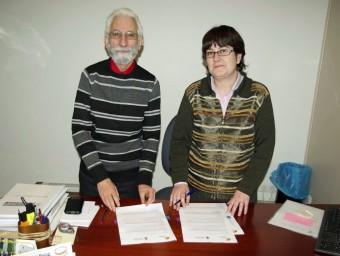 Pere Manzanares, president de Ràdio Arrels, i Monica Nadal Pairó, batllessa de l'ajuntament de Pedret i Marzà R.A