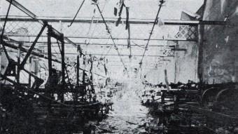 La fàbrica Emili Sallarès i Fills de Sabadell totalment calcinada seguint les ordres del general Líster ARXIU HISTÒRIC DE SABADELL