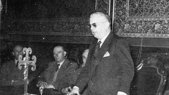 Luis Mazo Mendo durant l'acte de constitució de la Diputació de Girona, l'any 1945 EL PUNT AVUI