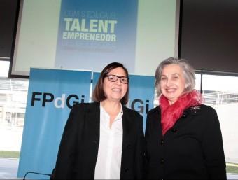 Mònica Margarit i Carme Pellicer, de la Fundació Príncep de Girona, ahir en la presentació de les jornades. JOAN SABATER