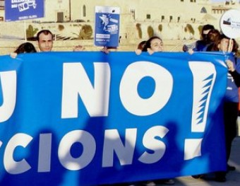 La capçalera de la manifestació que va tenir lloc ahir a Palma MONTSERRAT DÍEZ / EFE