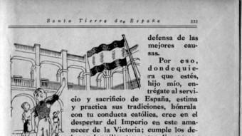 L'última pàgina de 'Santa Tierra de España', un altre llibre de lectura obligatòria a les escoles franquistes ARXIU