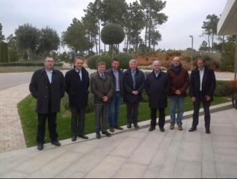 Els presidents dels consells comarcals de les comarques gironines, que es van reunir ahir a Caldes. EL PUNT