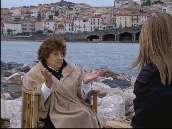 Teresa Rebull a Banyuls, durant una entrevista per TV3.