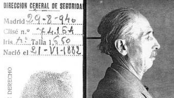 El president Lluís Companys en la seva fitxa policial